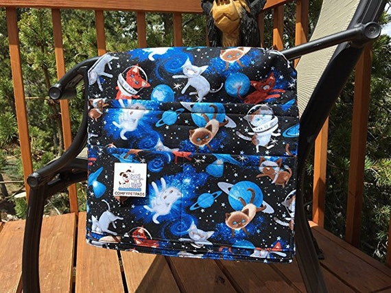 Crazy Cat Lady Gifts, Gift for Cat Lovers, Space Cats, Chair Caddy, Senior Citizen Gifts, Walker Bag, Stroller Organizer, Size 13x13x27