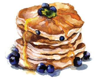 Watercolour Blueberry Pancakes breakfast dessert food illustration painting wall art cafe coffeeshop restaurant decor A4 A3 A2 A1 ANY SIZE