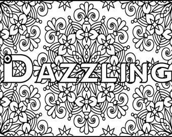 Adult Coloring Pages - Dazzling - Grown Up Coloring Page - Positive Coloring Pages - Pattern Coloring Page - Printable Coloring Page - Happy