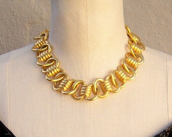 80s chunky gold necklace / Anne Klein, signed / brushed gold heavy chain statement necklace / designer couture