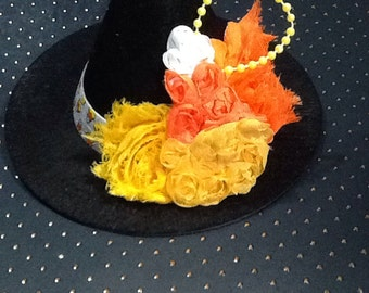 Halloween witches hat, mini witches hat, candy corn witch costume accessory, girls black hat, black witch hat for halloween