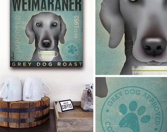 Weimaraner Coffee Company gallery wrapped canvas art