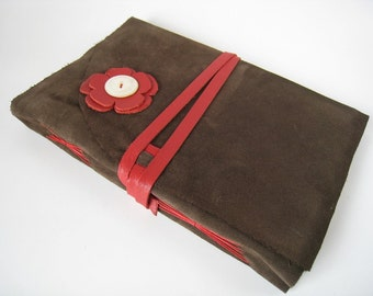 Espresso Suede Journal with Red Flower and Antique Pearl Button