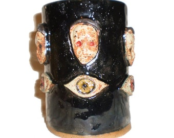 Ceramic Drinking Glass With Creepy Doll Faces