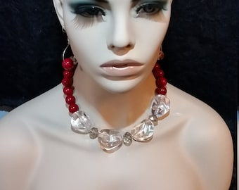 Statement necklace, red necklace, beaded necklace, gift for her, birthday gift, unique necklace, set of jewelry