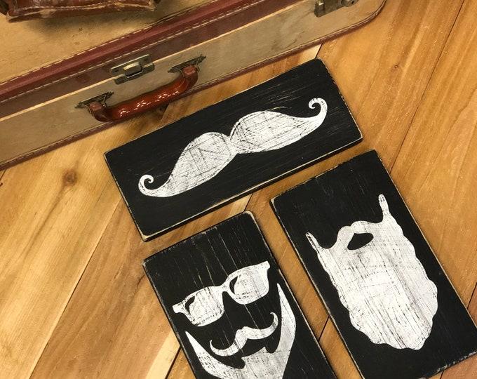 Beard and Mustache Trio Signs. Beard Grooming. Salon Decor. Mens Grooming. Mancave Decor. Bathroom Signs. Mens Bathroom Art. Mustache Art