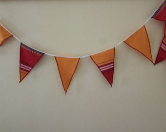 Kikoy Fabric Flag Bunting, Party Flags, Kikoy Garland, Orange Kikoy Party Bunting