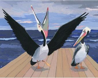"8x10"" print - bird art - ""Pelicans"""