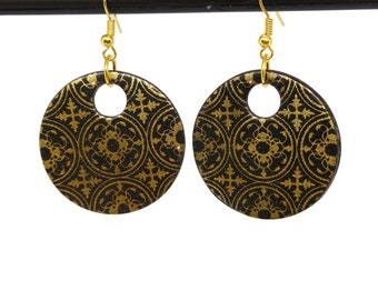 Black and Gold Moorish Pattern Round Drop Earrings, Round Earrings, Black Earrings, Disc Earrings, Gold Pattern, Gift For Her