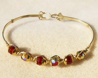 Red Crystal Bracelet - Handmade Wire Wrapped 14k Gold Filled, Red with Aurora Borealis Coating by JewelryArtistry - BR506