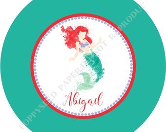 Ariel dinner plate or bowl- Princess Ariel plate or bowl- Personalized melamine plate- Ariel bowl- Personalized plate with name
