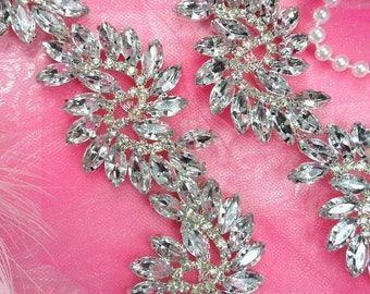"XR120 Pre-Cut By the Yard Marquise Swirl Crystal Rhinestone Trim Embellishment 1.75"" (XR120-slcr)"
