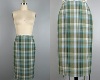 Vintage 1960s Plaid Skirt 60s Green and Blue Cotton Pencil Skirt by Century Size S