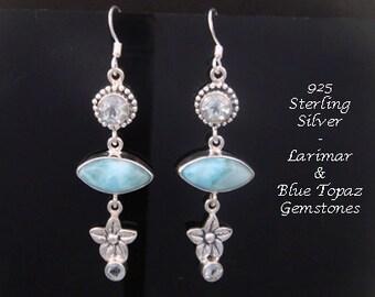 Silver Earrings 064: Sterling Silver Earrings with Larimar and Blue Topaz Gemstones Silver Drop Earrings | Silver Dangle Earrings