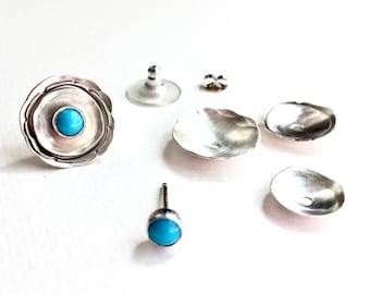 Ear Jackets Silver, Earrings Ear Jacket, Turquoise Earrings, Silver Ear Jackets, Jacket Earrings, Everyday Earrings, Electric Iced Tea