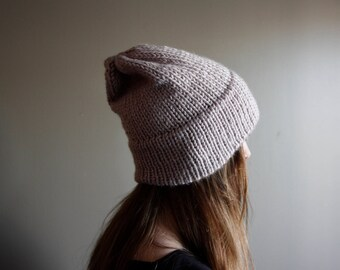 Tan Double Brim Beanie || Handmade Knit || Ready to Ship || 100% Vegan || Winter Hat
