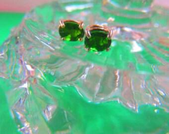 Chrome Diopside Earrings - Green Post Earrings - Chrome Diopside and Sterling Silver Post Earrings