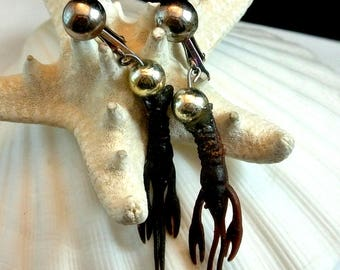 Brown Lobster Clip On Earrings Vintage Rubber Crawfish Earrings Lobster Dangle Earrings Novelty Earrings Free Shipping In USA