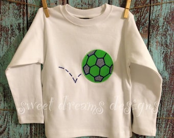 BOYS soccer ball shirt. Long and short sleeves available .
