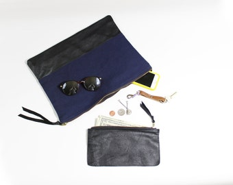 Black & Blue Repurposed Leather and Canvas Oversize Clutch