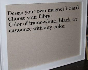 "Framed Magnet Board, Farmhouse Frame, Magnet Board, Magnetic Board, Framed Bulletin Board, Memo Board, Kitchen Bulletin Board, 29x41"""