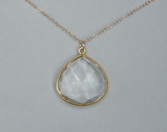 Clear Quartz Necklace, Clear Drop Necklace, Gold filled, Gemstone Necklace