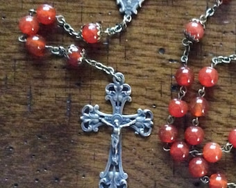 CARNELIAN AND BRONZE Rosary Beads with Rosary Box