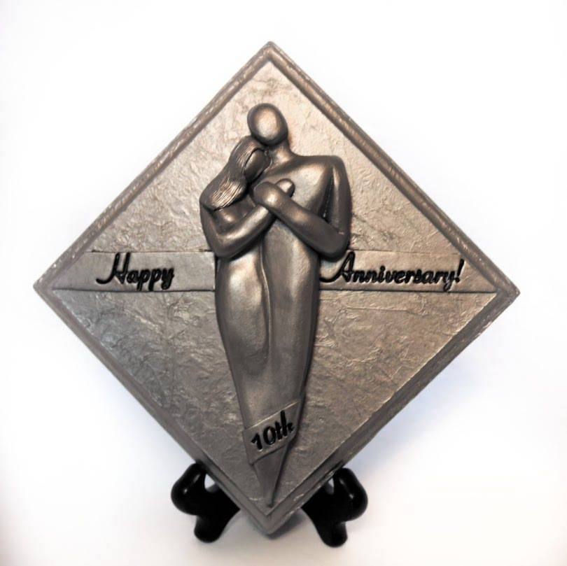 Happy 10th Wedding Anniversary Plaque Tenth Anniversary Gift Tin