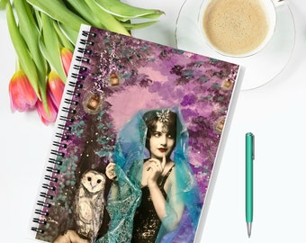 Enchanted Evening Fairy with Owl art deco spiral notebook journal