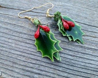 Holly and Berries Handmade Repurposed Christmas Holiday Drop Dangle Earrings - Winter Gift Ideas for her