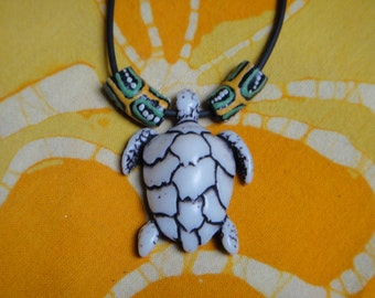 Carved Sea Turtle Pendant African Bead Necklace