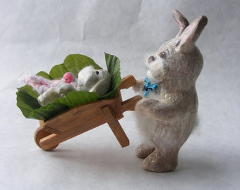 Easter Bunny Figurine baby bunny Spring holiday decoration daddy and baby gift easter rabbit Father's Day gift Easter rabbit bunny family