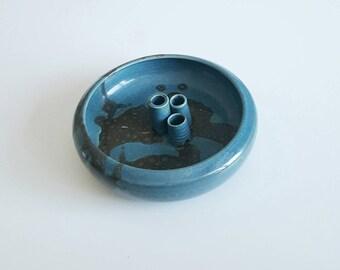 Mid century studio pottery signed vessel dish / weed vase / bud vase
