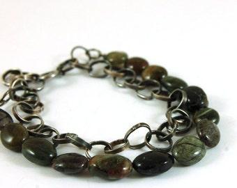 tourmaline silver chain bracelet, metalsmith chain bracelet