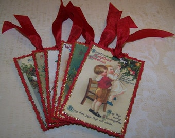 Christmas Tags Vintage Style Cute Christmas Kids Ellen Clapsaddle Cottage Chic Tags Set of 6