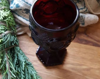 Calice rouge sang Vintage bol / tasse/Pagan fournitures/solide verre/gothique Decor/sorcellerie occulte/Ruby Red/Cape Cod Collection/gobelets