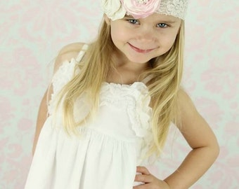 The Vintage Princess Ivory & Pink Lace Headband - Cream - Pearl Rhinestone - Wedding Bridal Birthday Flower Girl Shabby Chic
