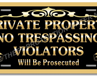"Private Property No Trespassing Aluminum Video Surveillance Security Sign 6""x12"""