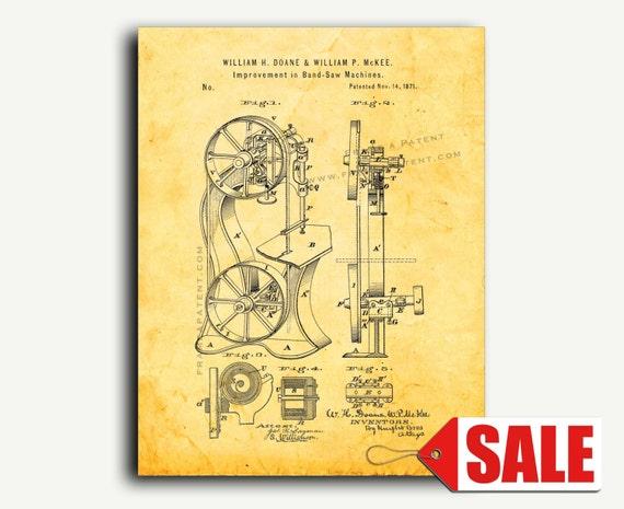 Patent Poster Band Sawing-machines Patent Wall Art Print