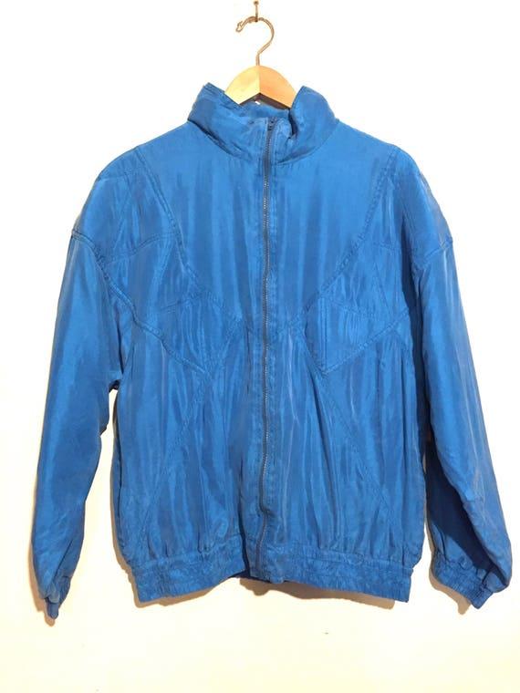 90s Vintage Raw Silk Bright Blue Windbreaker