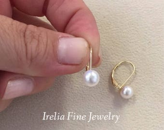 14k Yellow Gold 5- 6 mm Akoya Pearl Lever Back Earrings Also Available in 14k White Gold --Ready to Ship--