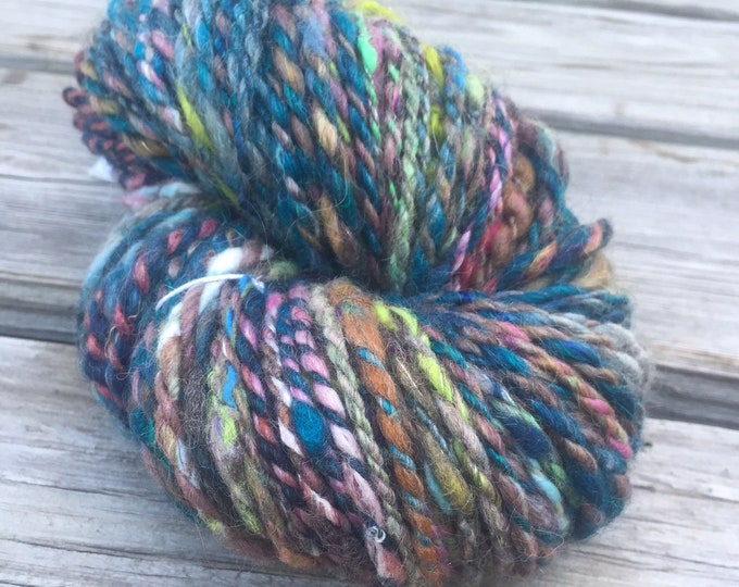Evening Splendor Handspun Yarn Bulky 2 ply wool alpaca angelina sparkle yarn FiberTerian 120 yards teal blue pink green gray purple