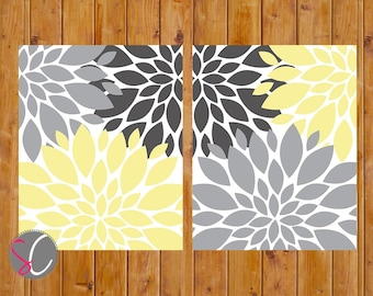 Floral Flower Burst Gray Yellow Set of 2 Wall Baby Decor Bedroom Bathroom  8x10 High Resolution JPG Files Printable   Instant Download (25)