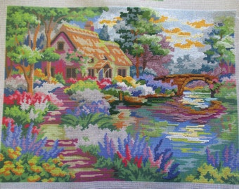 Needlepoint canvas unfinished preworked Dimensions 2487 16 by 20 inches  2000 no yarn included no instruction