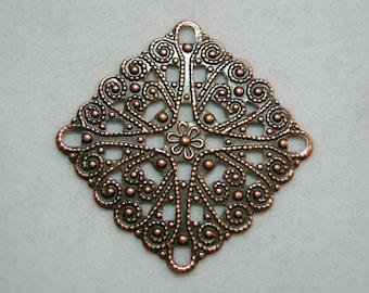 Antiqued Copper Filigree Earring Pendant Drop Finding