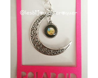 Necklace cameo charm Moon and emoji 3