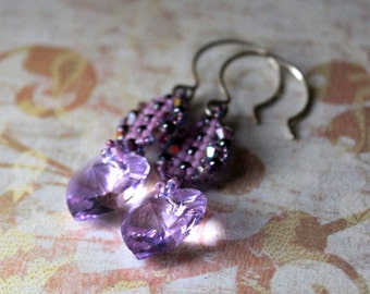 Hand Beaded Earrings with Lavender Swarovski Crystals and Crystal hearts,  sterling silver ear wires