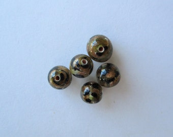 Leopard Spot Lampwork Beads, Round Leopard Lampwork Beads, 12mm, center drilled, lot of 5