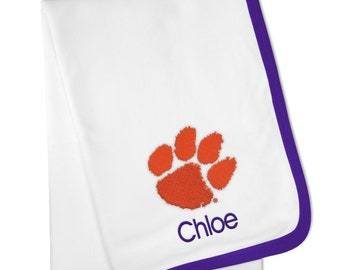 Personalized Clemson Tigers Baby Blanket