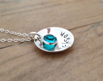 Child Name Necklace with Birthstone - Hand Stamped Sterling Silver - Gift for Mom - Gift for Grandma - Handmade jewelry - mom gift